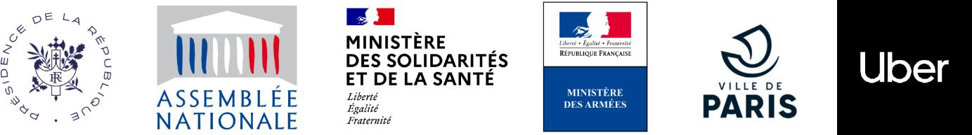 Elysée (Présidence de la République), Assemblée Nationale, Ministère des Solidarités et de la Santé, Ministère des Armées, Ville de Paris, Uber